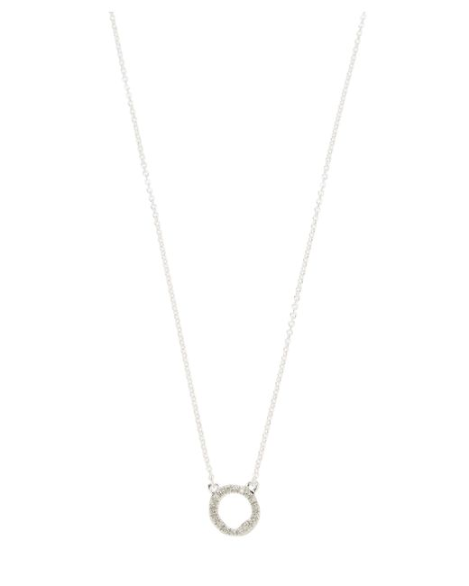 Monica Vinader - Metallic Silver Riva Mini Circle Diamond Necklace - Lyst