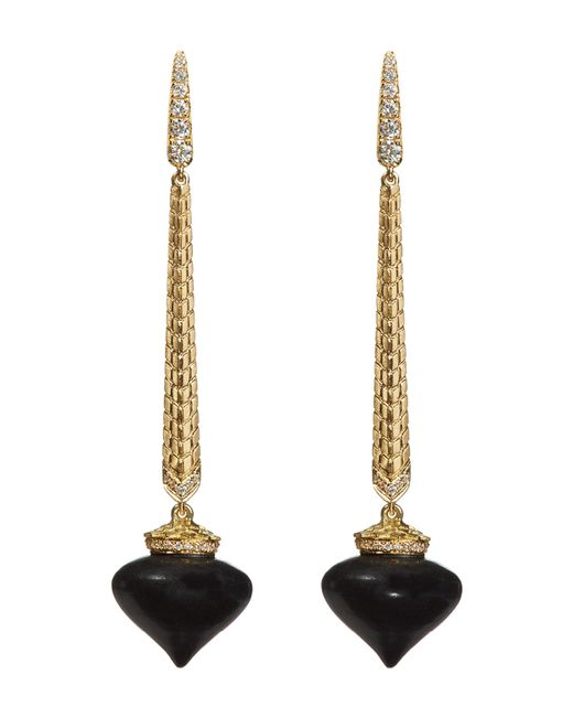 Annoushka - Metallic Touch Wood Ebony Drop Earrings - Lyst