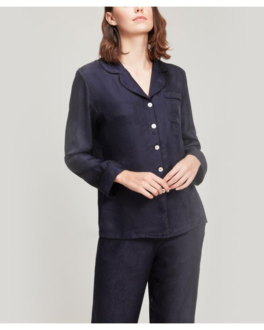 Liberty Blue Hera Silk Jacquard Pyjama Set