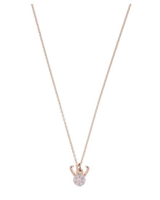 Kismet by Milka - Metallic Rose Gold Horoscope Capricorn White Diamond Pendant Necklace - Lyst