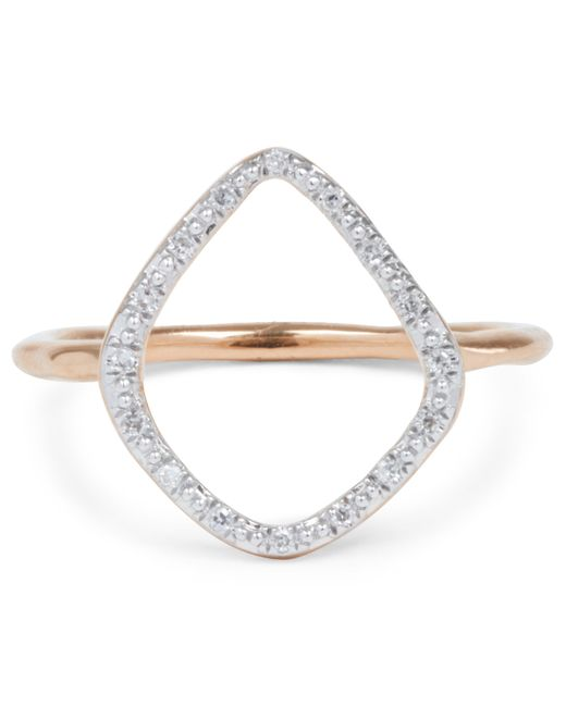 Monica Vinader - Metallic Rose Gold Vermeil Diamond Riva Hoop Ring - Lyst