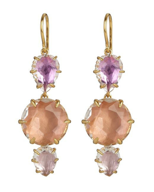 Larkspur & Hawk - Metallic Gold-dipped White Quartz Caterina Three Drop Earrings - Lyst