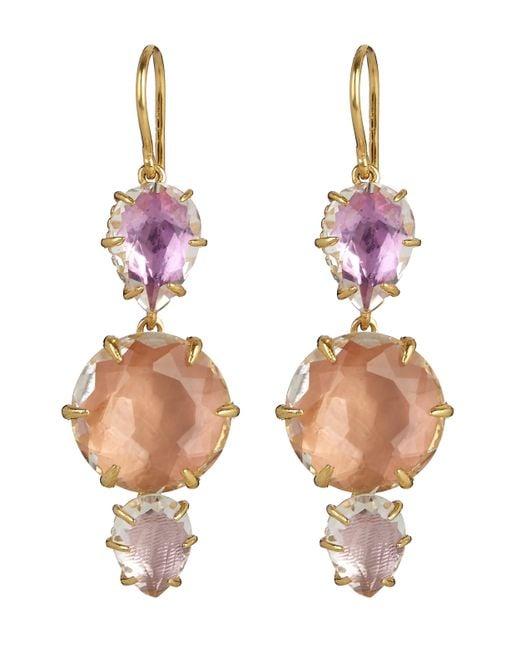 Larkspur & Hawk | Metallic Gold-dipped White Quartz Caterina Three Drop Earrings | Lyst