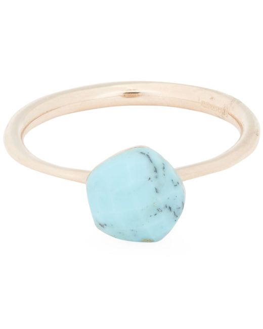 Monica Vinader - Metallic Rose Gold-plated Nura Mini Turquoise Nugget Stacking Ring - Lyst