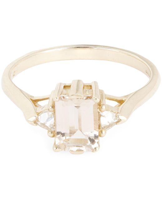 Anna Sheffield - Metallic Gold Bea Morganite Three Stone Ring - Lyst