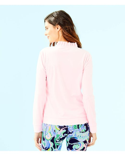 74cff3cfae ... Lilly Pulitzer - Pink Jayla Velour Ruffle Zip Up Jacket - Lyst ...