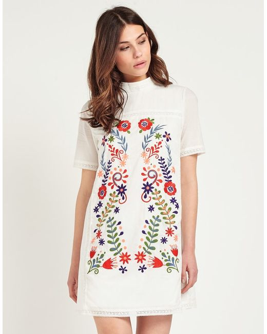 Fashion union embroidered dress in white lyst