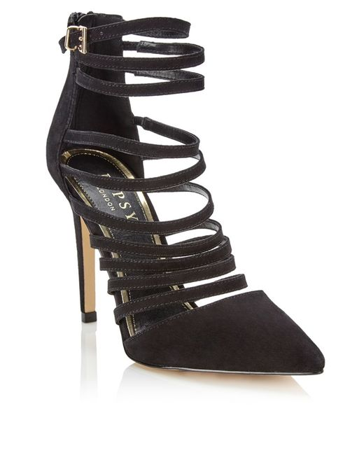 lipsy strappy court shoes in black lyst