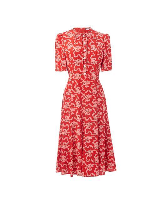 L.K.Bennett - Red Montana Poppy Silk Dress - Lyst