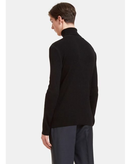 fa6a661bb ... Aiezen - Men s Ribbed Polo Neck Sweater From Ss15 In Black for Men ...