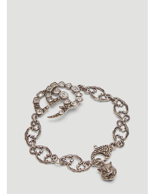b6dc34352 ... Gucci - Metallic Crystal Double G Chain Bracelet In Silver - Lyst ...
