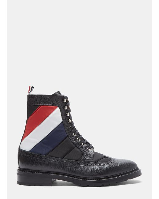 Thom Browne | Quilted Nylon Longwing Pebble Grained Brogue Boots In Black for Men | Lyst