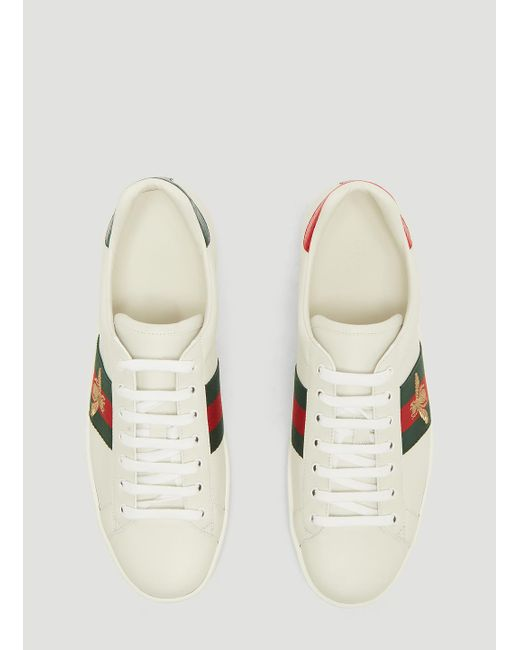 e5ca6dee95c ... Gucci - Ace Bee Embroidered Sneakers In White for Men - Lyst ...