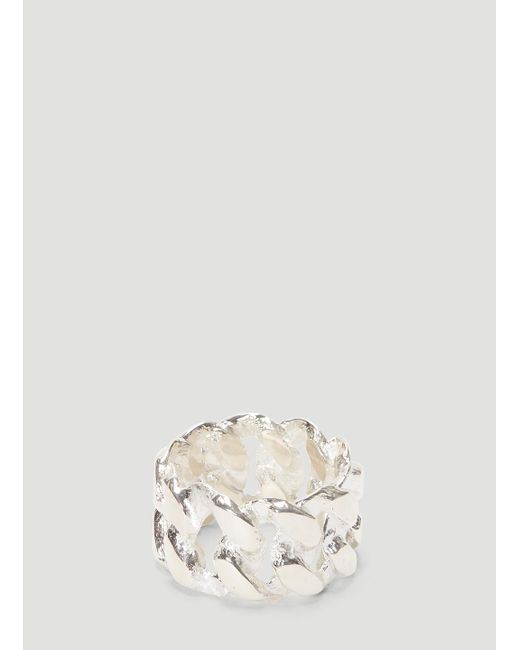 Pearls Before Swine Metallic Sliced Xl Link Ring In Silver for men