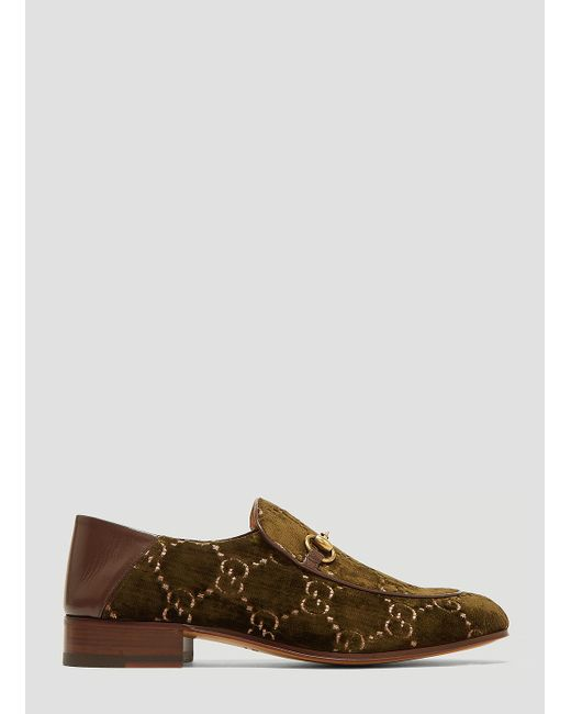 358d00a9d35 Gucci - Natural Horsebit GG Velvet Loafer In Khaki for Men - Lyst ...