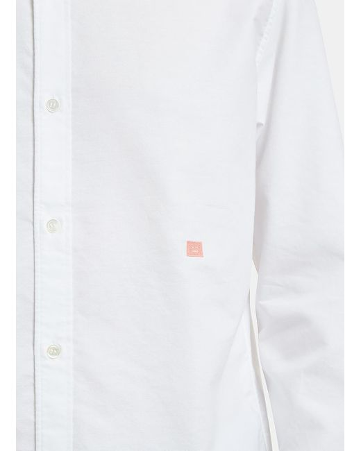 ... Acne - Ohio Face Embroidered Oxford Shirt In White for Men - Lyst