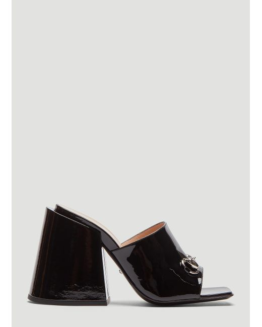 b74f59c43e2 Lyst - Gucci Patent Leather High-heel Slide In Black in Black