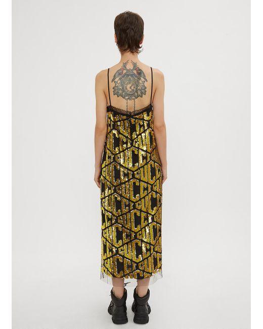 18e895219e6e8 Gucci Game Sequins Slip Dress in Metallic - Save 60% - Lyst