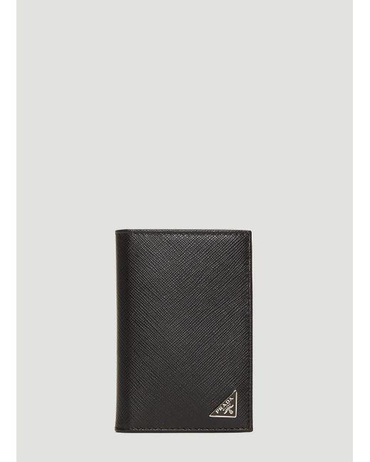 a4bd41a0502 Prada Saffiano Leather Card Holder In Black in Black for Men - Lyst