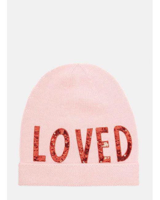 Gucci - Sequin Embroidered Loved Knit Hat In Pink - Lyst