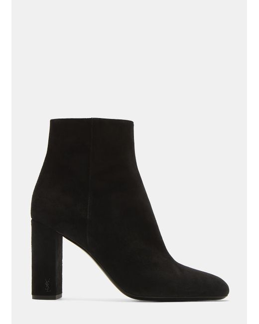 Saint Laurent - Loulou 95 Zipped Suede Ankle Boots In Black - Lyst