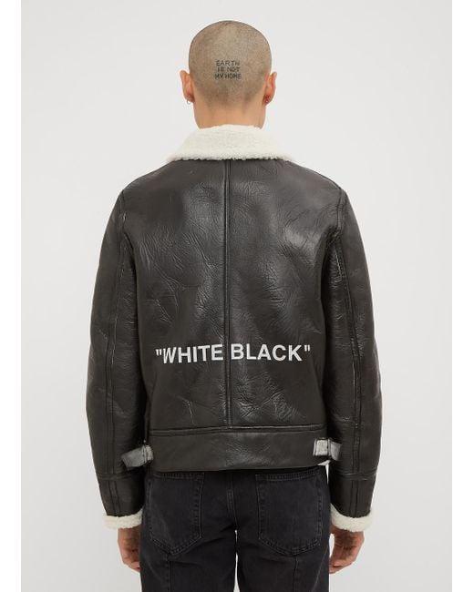 694f3d2453be Virgil chaqueta negra cuero Off Co de Abloh Shearling hombre para White por  TxwqXqO4E