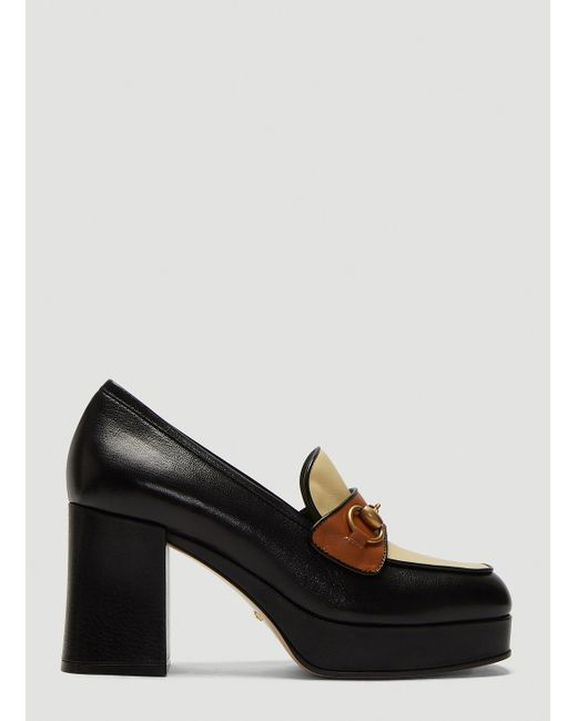 746db9108 Gucci Horsebit Heeled Loafers in Black - Save 44% - Lyst