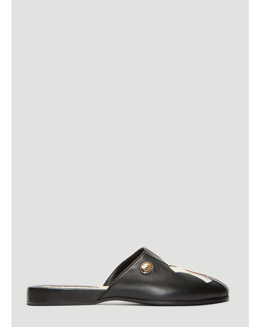 88061811c1c Lyst - Gucci Ny Yankees Patch Leather Slippers In Black in Black ...