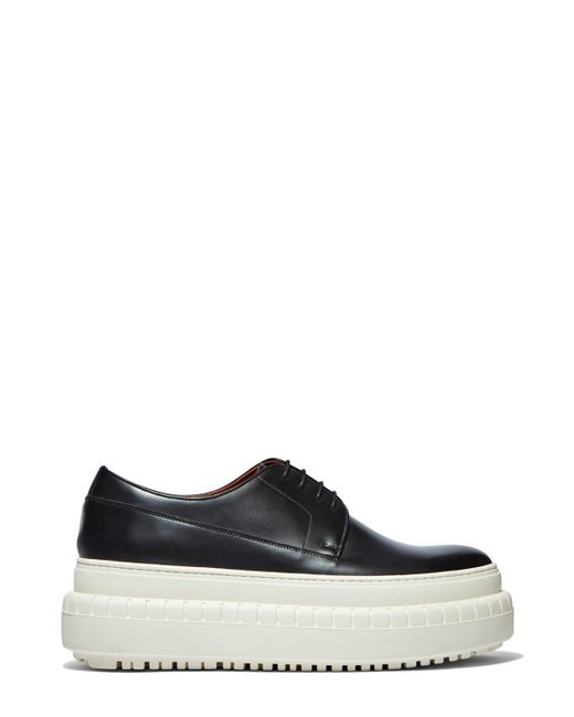 acne s hover platform derby shoes in black and white