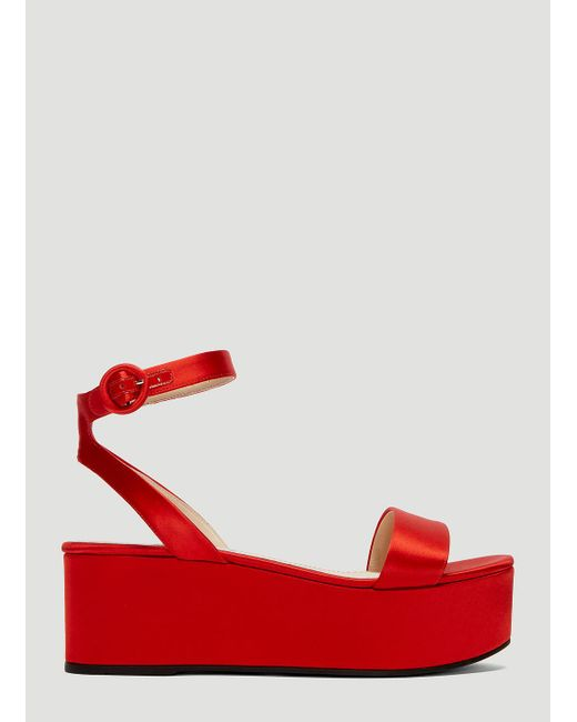 59024181117f Lyst - Prada Satin Platform Sandals in Red - Save 14%