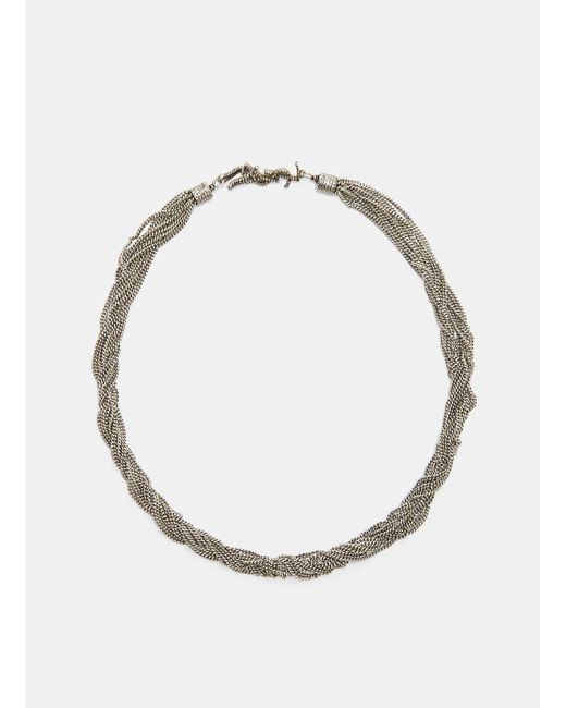 Saint Laurent - Metallic Loulou Twisted Chain Choker Necklace In Silver - Lyst