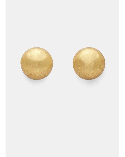 Monies   Metallic 7783 Small Gold Leaf Painted Sphere Clip-on Earrings In Gold   Lyst