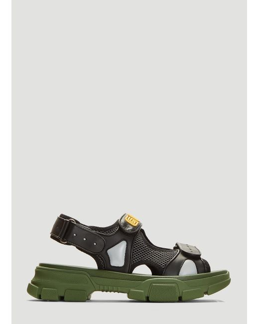 89c871de98a Lyst - Gucci Black And Green Aguru Sandals in Green for Men - Save 3%