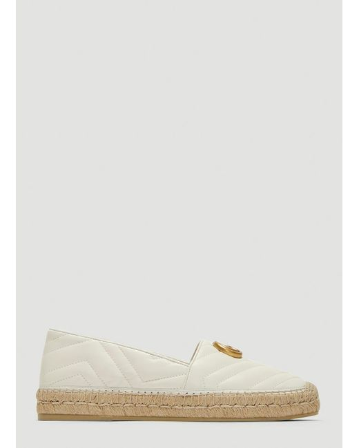 9af3cb4cea9863 Lyst - Gucci Quilted Leather Espadrilles in White - Save 22%