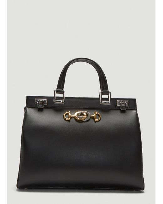 55013e6a669 Gucci Zumi Top Handle Leather Bag In Black in Black - Lyst