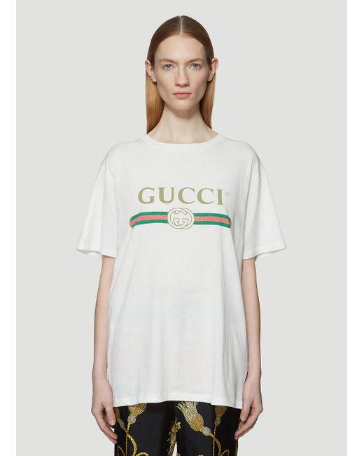 Gucci - White Vintage Logo Cotton Jersey T-shirt - Lyst
