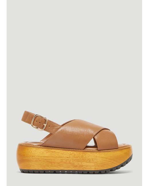 2afac28117f4 Marni Criss-cross Wedge Sandals In Brown in Brown - Lyst
