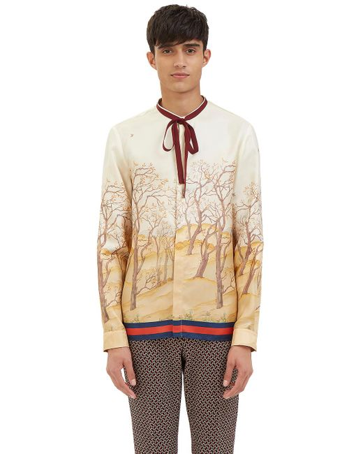 Gucci Men 39 S Scenic Print Silk Shirt In Ivory In White For
