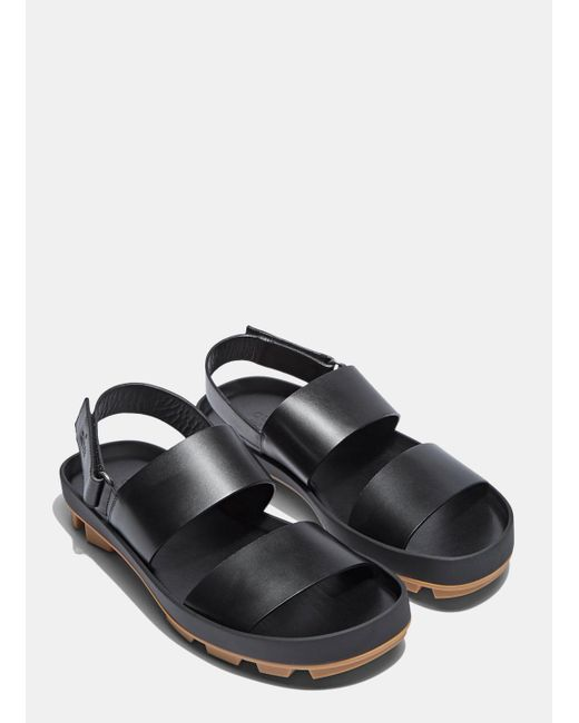 Gucci Men S Leather Two Strap Sandals In Black In Black