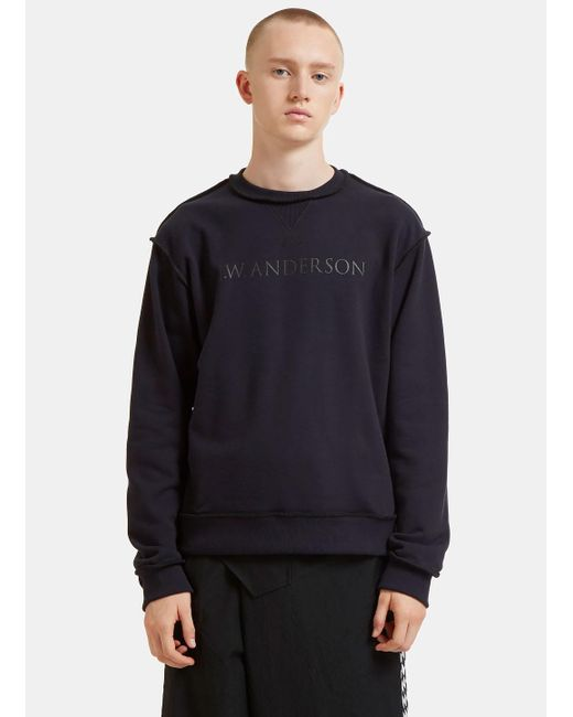 J.W. Anderson   Blue Logo Branded Overlocked Sweater In Navy for Men   Lyst