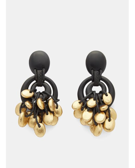 Monies | 7791 Painted Pebble Circular Drop Earrings In Black And Gold | Lyst