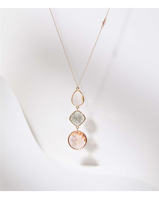 LOFT - Metallic Stacked Stone Pendant Necklace - Lyst