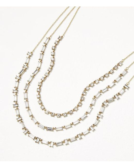 LOFT | Metallic Crystal Baguette Layered Necklace | Lyst