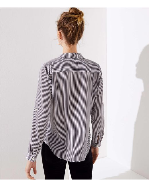 5f36c3dccb3c54 LOFT Mixed Stripe Utility Blouse in Gray - Save 17% - Lyst
