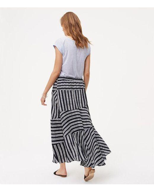 loft stripeblock maxi skirt in blue lyst