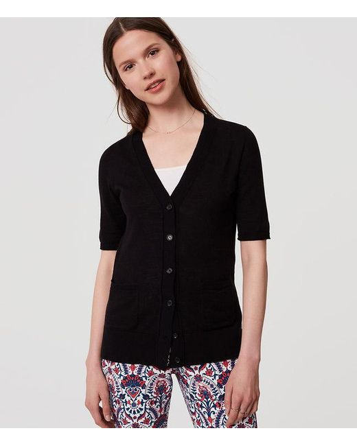 Loft Petite Textured Short Sleeve Cotton Cardigan in Black - Save ...