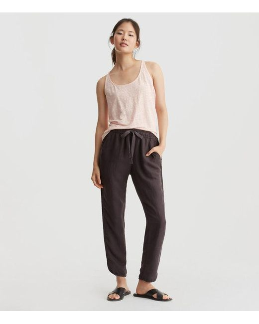 Lyst Loft Lou Amp Grey Brushed Linen Drawstring Trousers