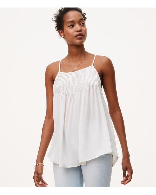 LOFT | White Pintucked Mixed Media Cami | Lyst