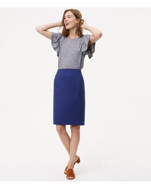 LOFT | Blue Seamed Scuba Pencil Skirt | Lyst