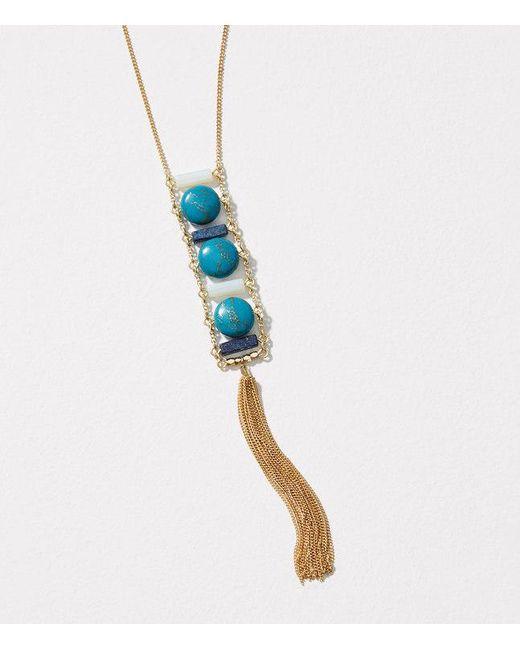 LOFT   Metallic Stone Ladder Tassel Necklace   Lyst